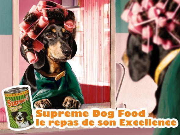 funny supreme dog food ad
