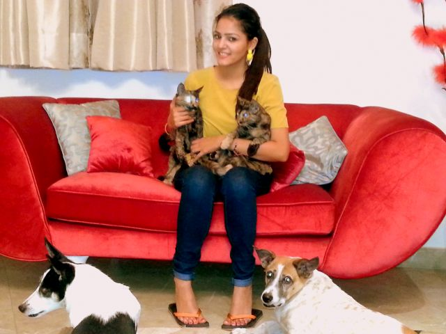 girl with adopted pets