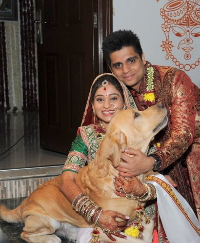 Indian bride with dog