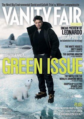 Polar bear with Leonardo de Caprio magazine cover