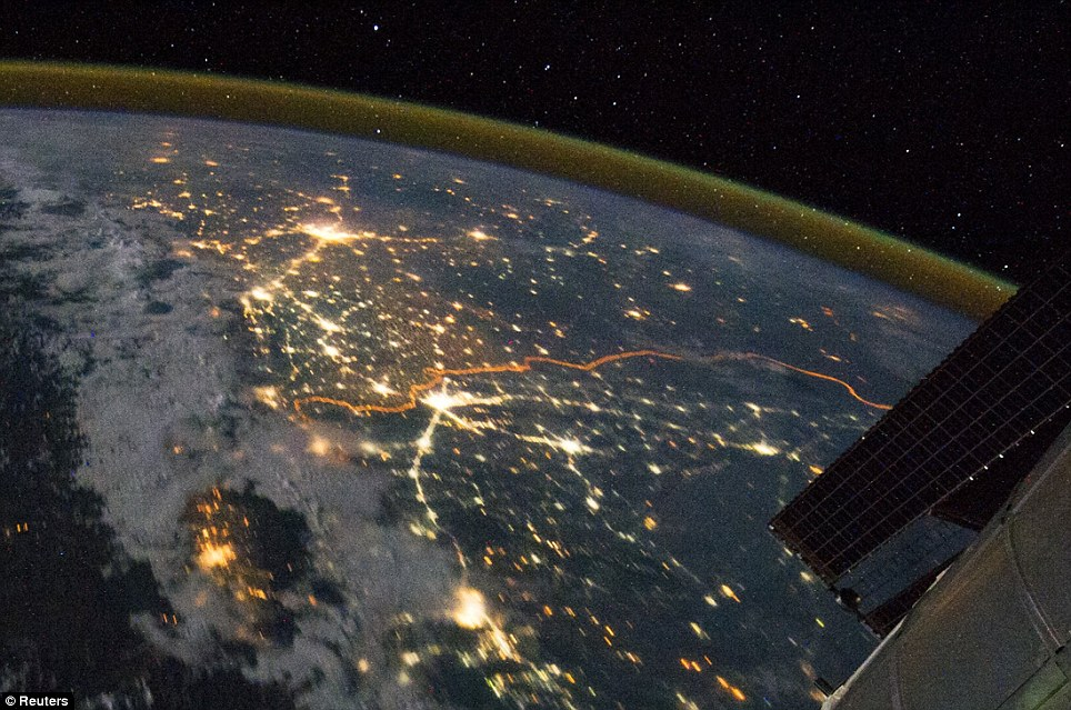 India Pakistan border seen from space