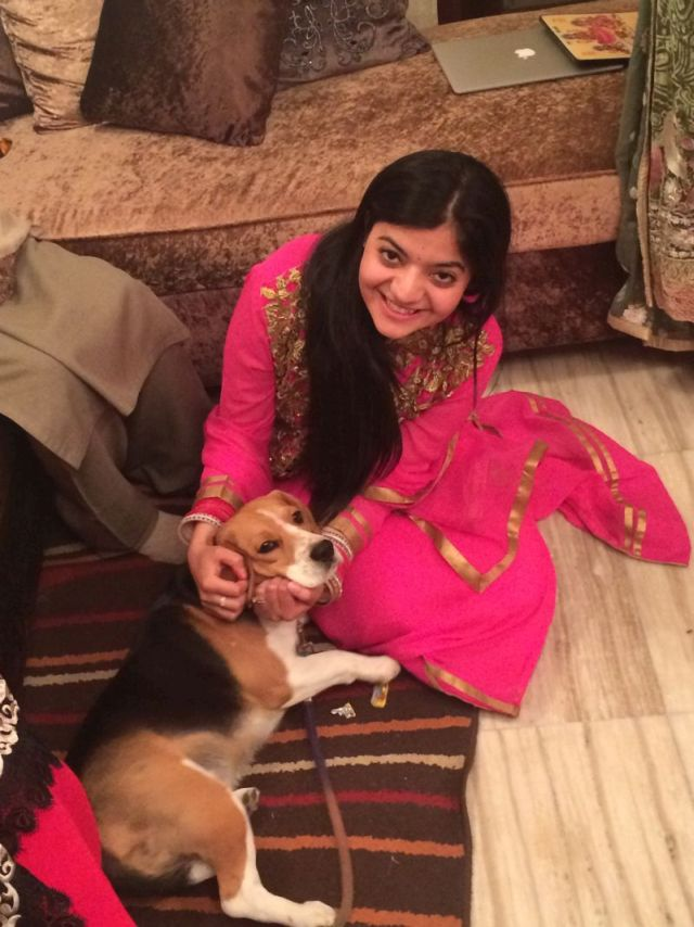 Indian girl and dog best friends
