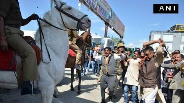horse hit in protests Uttarakhand