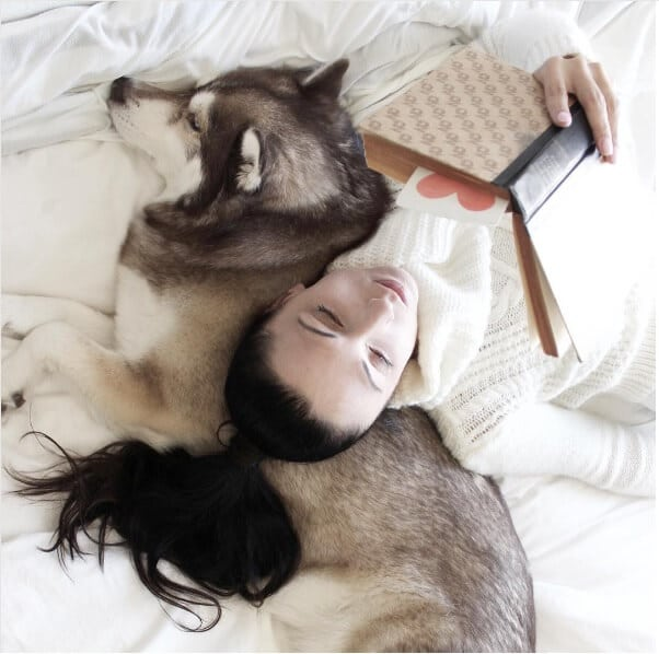 dog woman read