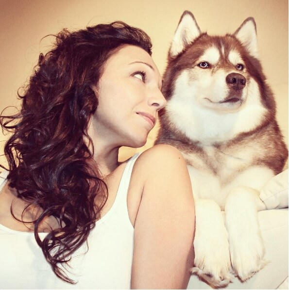 husky woman best friend
