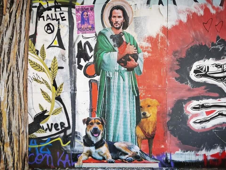 Street art keanu reeves with dog